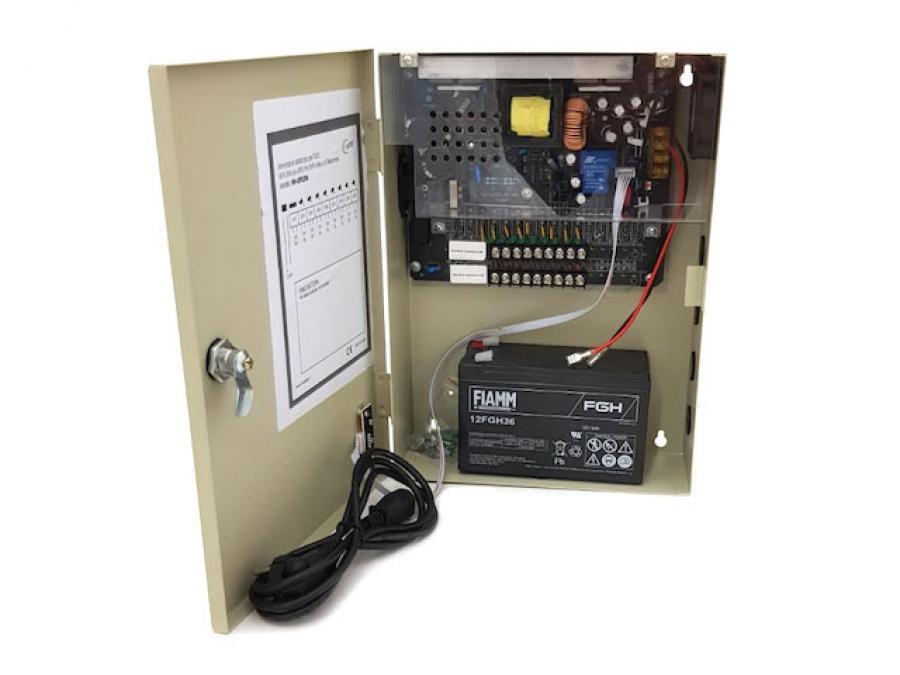 Alimentatore centralizzato per telecamere con batteria tampone