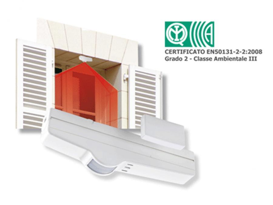 Sensore allarme a tenda da semi-esterno tra finestra e persiana