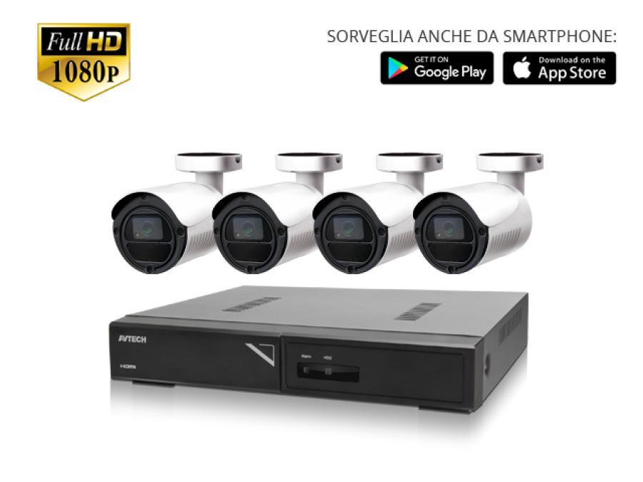 Kit Videosorveglianza professionale 2/4/8/16 Telecamere esterno Sony CMOS 2 Megapixel con infrarossi notturni e DVR H.265