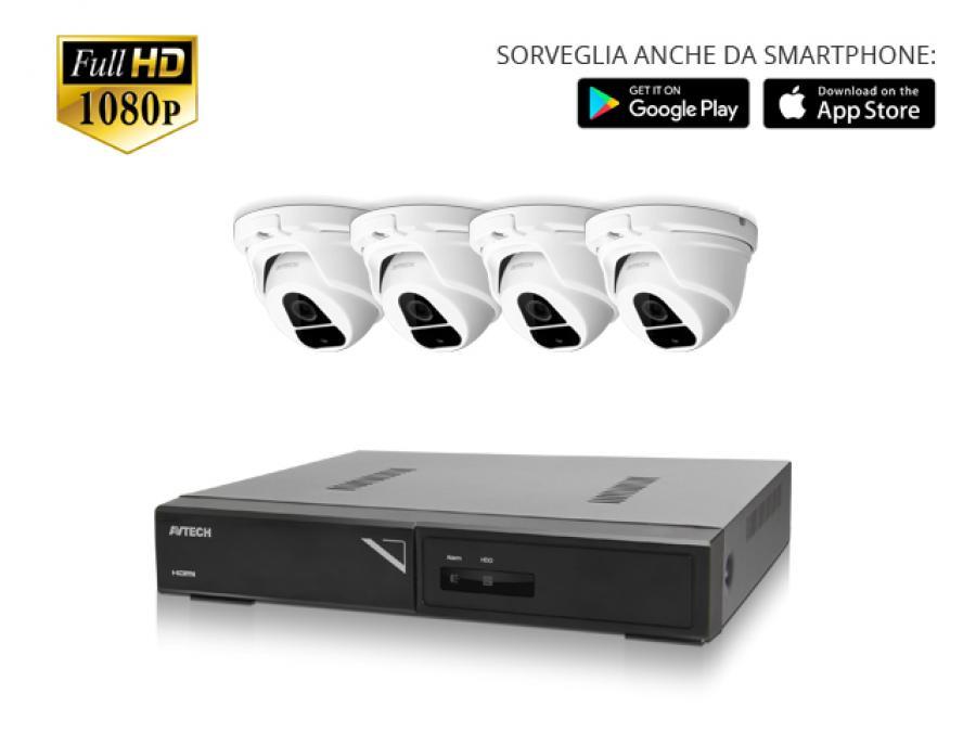 Kit Videosorveglianza professionale 2/4/8/16 Telecamere mini dome Sony CMOS 2 Megapixel con infrarossi notturni e DVR H.265