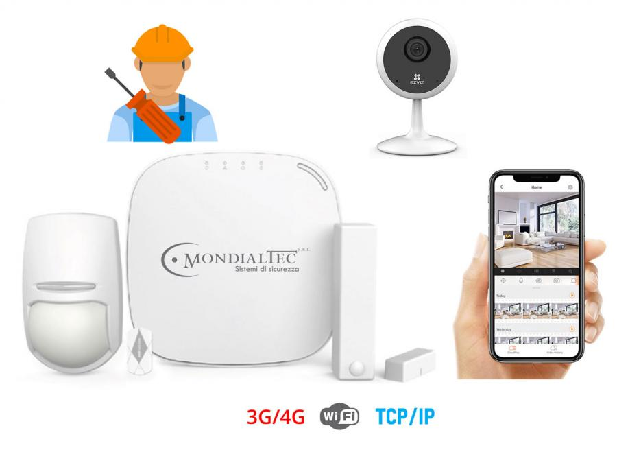 OFFERTA: Kit antifurto wireless 4G + Telecamera WIFI Full HD 1080p + installazione professionale